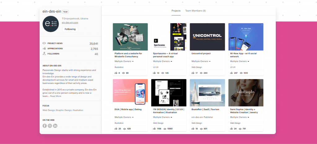 Behance design projects