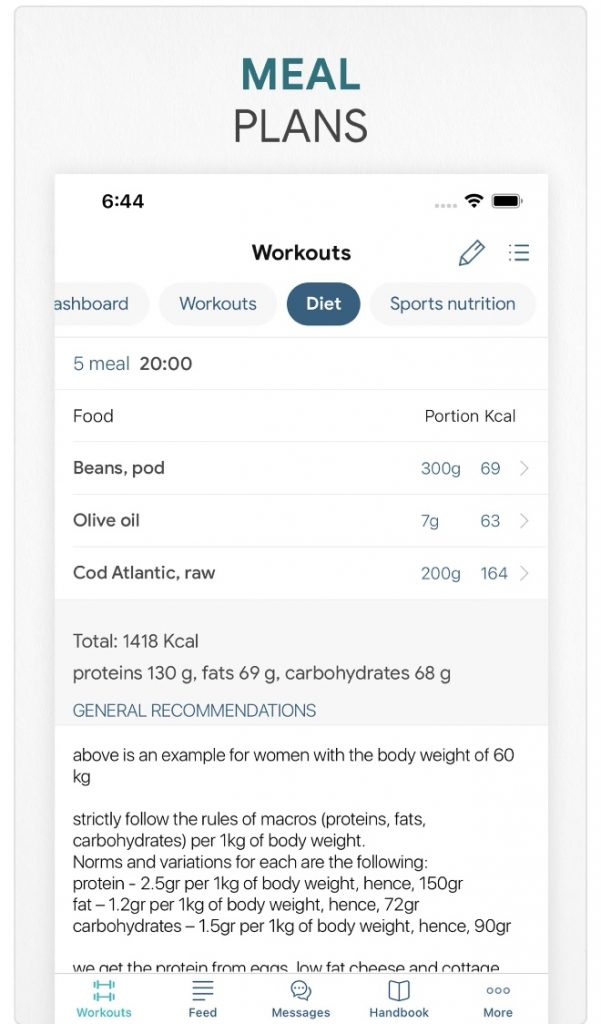 meal plan fitness app